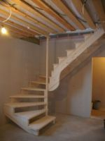 Interior wooden stairs, made of solid oak or beech wood. Solid wood interior stairs made to order according to the requested size and model. Loft Staircase, Entryway Stairs, Rustic Stairs, Wooden Stairs, Basement Stairs, House Stairs, Spiral Staircase, Staircase Design, Wooden Staircases