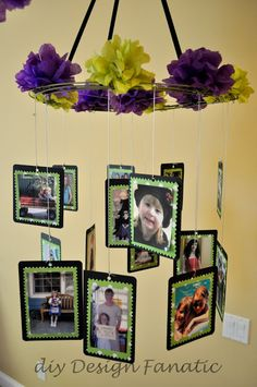 DIY decorations for a high school graduation! Include all the photos of him or her on their first day of school through the years!