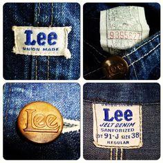 Vintage Lee 91-J. Jelt Denim. Union Made. Lee Jeans.