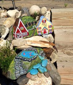 Fairy village in painted rocks