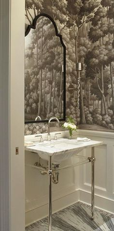 Hall bath idea: Trim on the bottom, wallpaper on top...I think it may look nice to have some architectural details in your house especially since you can see it right when you walk in.