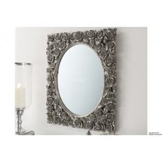 """Roses Rectangle Mirror - Silver (22""""x 18"""")"""
