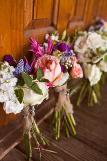 Bridesmaid flowers - more rustic & not held tightly with ribbons