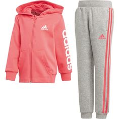 Buy adidas Pink/Grey Hojo Tracksuit from the Next UK online shop Swag Outfits For Girls, Cute Swag Outfits, Cute Comfy Outfits, Toddler Girl Outfits, Kids Outfits, Sweatpants Outfit, Nike Sweatpants, Adidas Outfit, Girls Sportswear