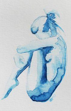 Fine Art Print blue Watercolor nude woman figure by ArtbyVBM