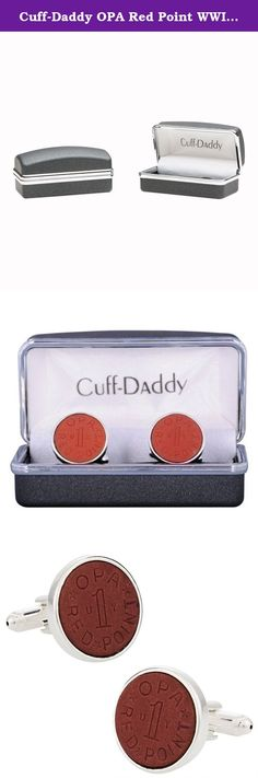Cuff-Daddy OPA Red Point WWII Ration Cufflinks Clad in Sterling Silver. Authentic red OPA tokens are the heart of these antique cufflinks. In World War 2 (WWII), these red tokens were given out as rations so Americans could purchase meat or fish. OPA stands for Office of Price Administration. Plated with sterling silver and proudly made in the USA. Arrives in handsome gift box. We carry blue OPA tokens too!.