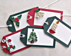 Quilled christmas candy cane gift tags by TheTartanBoston on Etsy