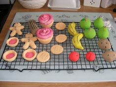 Having made salt dough models with the children at home the other day I made these pieces of play food in the same way. Role Play Areas, Cafe Role Play Area, Pretend Food, Pretend Play, Salt Dough Ornaments, Homemade Ornaments, Diy Ornaments, Homemade Clay, Play Shop