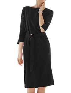 Allegra K Women's Crew Neck Dolman Sleeves Split Sides Midi Dress w Belt Black (Size M / 8)