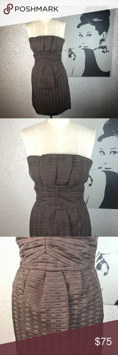 Max & Cleo Brown Grid Dress size 2 Strapless Max & Cleo  Brown Grid Basket Weave Structured dress. Mannequin is a 4 and it's too small on it. So it's a true 2 has hanger straps and delicate shoulder straps for support. Max and Cleo Dresses Midi