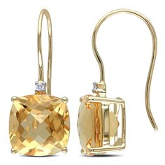 Miadora 10k Yellow Gold Citrine and Diamond Accent Dangle Earrings