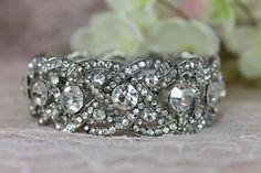 Bridal Wedding Bracelet Cuff  Jewelry - Crystal Bracelet Cuff -Rhinestone bracelet cuff -Vintage Victorian Art Deco Bracelet- Gatsby - B0103...