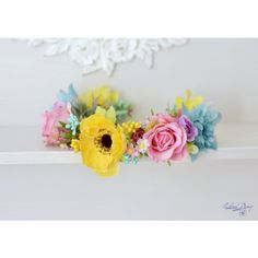 Bridal floral crown Colorful wedding flower crown Garden anemone rose... ($67) ❤ liked on Polyvore featuring accessories