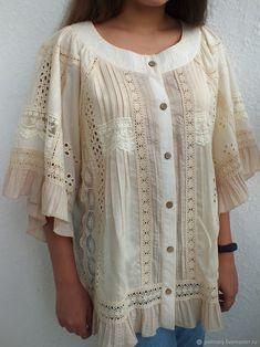 """Купить Бохо-блуза """"Адель.Cream"""" - лето, бежевый, бохо, крем, кремовый, летний, блуза"""