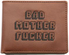 Brown Embroidered Bad Mother Fucker Leather Wallet