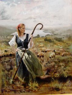 Elizabeth, oil on panel, Santiago Michalek, portrait, oil painting, figurative painting, female sheep herder