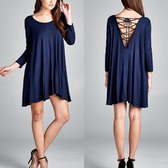 """""""Labyrinth"""" Lace Up Back Dress 3/4 sleeve dress with a super cute lace up back. Available in black and navy. This listing is for the NAVY. Brand new. Runs loose. NO TRADES. Bare Anthology Dresses Mini"""
