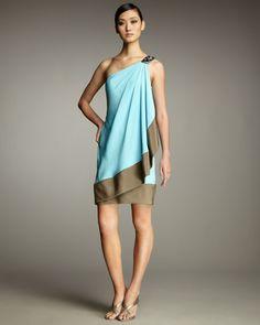 cute one shoulder color block dress
