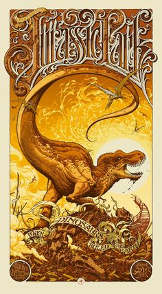A Tyrannosaurus Rex runs wild in Aaron Horkey's Jurassic Park poster for Mondo;  the first in a series of artistic salutes to the sentimental favorite.