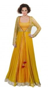 Golden Yellow Net Floor Length Anarkali Suit SU1501