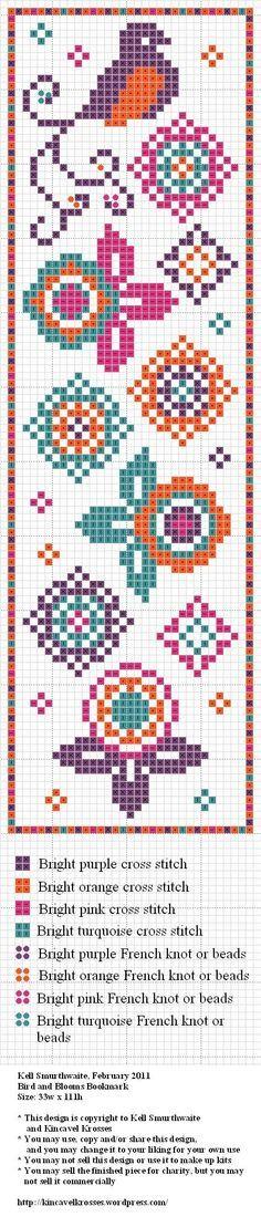 Cross stitch book mark pattern / patrón punto de cruz marca páginas punto de lectura