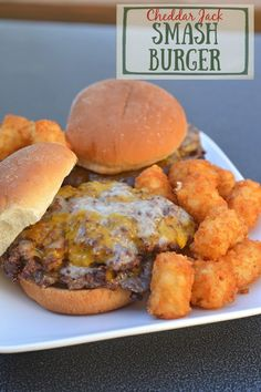 Double-stacked Cheddar-Jack Smash Burger Sliders - We were halfway through a long brisket & pork butt cook and were quite hungry, so I smashed 2.5 ounce balls of ground chuck on a griddle plate on a Big Green Egg grill for a quick bite. Barbecue Recipes, Grilling Recipes, Bbq, Side Dishes Easy, Side Dish Recipes, Big Green Egg Grill, My Favorite Food, Favorite Recipes, Pork Sliders
