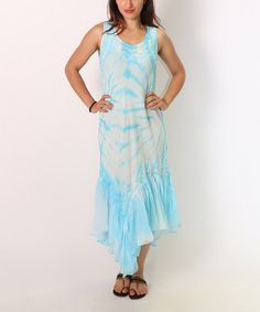 Look what I found on #zulily! Turquoise Tie-Dye Embroidered Dress #zulilyfinds