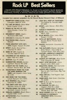 LP Best Sellers  1976 Top Music Hits, Music Do, 70s Music, Music Bands, Rock Music, 70s Songs, Upbeat Songs, Top 30 Songs, Song Words