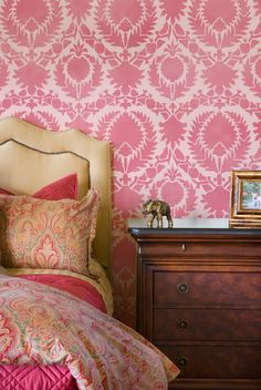 Suzani Moroccan Wall Stencil. Shades of pretty pink | Silk Road Suzani Stencil | Royal Design Studio