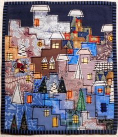 Happy Villages mini quilt by Lene Alve (Finland) | Dances with Wool.  Chain stitched.  Inspired by Karen Eckmeier.