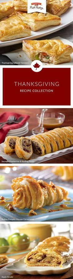 From appetizers, side-dishes and desserts, to making the most of those fabulous leftovers, this Puff Pastry Thanksgiving recipe collection will inspire your Turkey Day celebrations. Dress up your leftovers with our Thanksgiving Leftover Hand Pies or decorate your plates with Praline-Pumpkin Mousse Cornucopias. From traditional favorites to new inspiration, this list will help you plan your big feast.