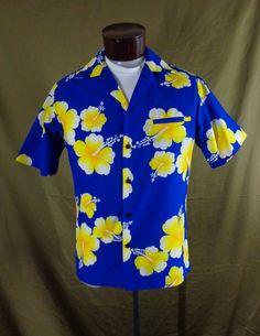 852d3bf07a Vintage Blue Hilo Hattie Yellow Hibiscus Flower Print Hawaiian Shirt – M -  VLV  HiloHattie