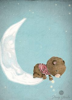"children's wall art - collection - bear - brown - red stripes - moon -  stars - Illustration - pyjamas - ""Sending My Very Best Wishes!"""
