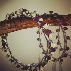 Purple Empress hair garland by BloomingLoopy.com - in Purple, Lavender and Ivory - made to measure (wide choice of colours available) - pictured with 2 Rosebud garlands in Purple
