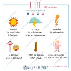 It's summertime! At least in the northern hemisphere. To celebrate, here is 7 infographics about summer. French Language Lessons, French Lessons, Spanish Lessons, Teaching French, Teaching Writing, Teaching Spanish, How To Speak French, Learn French, French Basics