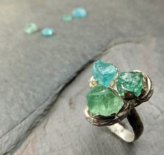 Raw Apatite Rough Uncut stone Three Gemstone Statement ring Recycled Sterling Silver Cocktail Ring