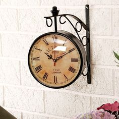 Vintage Double Sided Wall Clock With Holder | Antique Station Clock with 360 degree rotation | Victoria Royal clock | 30 cm diameter