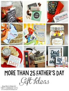 More than 25 Father's Day Gift Ideas. Great gift ideas for dad on fathers day! Cute printable father's day gift tags.