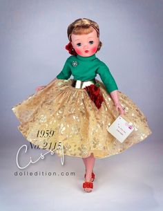 Madame Alexander Doll: Cissy, 1959 Cissy No. 2115 - Cissy was transitioning with a new head mold (that set lower on her neck than previous years) and one peice arms. Ag Dolls, Barbie Dolls, Glamour Dolls, Madame Alexander Dolls, Vinyl Dolls, Vintage Dolls, Snow White, Disney Princess, Casual