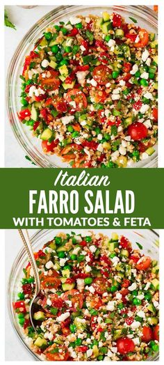 Italian Farro Salad with feta, fresh tomatoes, veggies, and a bright red wine vinaigrette. Delicious, filling vegetarian recipe that's perfect for healthy meal prep. Big enough for a crowd and tastes great leftover and at room temperature, so it's a perfect potluck and barbecue side dish recipe too! #italian #farro #salad #healthy via @wellplated