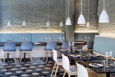 Saboc Barcelona, Restaurant Design, Love the tiles, brick wall, soft blue shades. Design Café, Cafe Design, Store Design, Clean Design, Design Ideas, Commercial Design, Commercial Interiors, Web Design Inspiration, Interior Inspiration