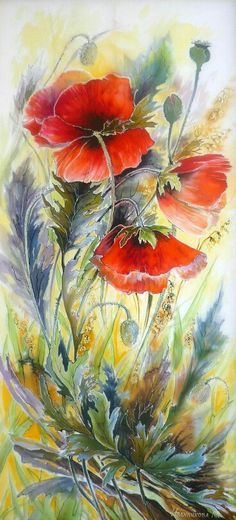 Lovely painting of poppies! Watercolor Poppies, Watercolor Paintings, Watercolors, Red Poppies, Silk Art, Art Abstrait, Abstract Flowers, Beautiful Paintings, Painting Inspiration