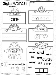 Sight Word Practice Pages - Pre Primer, Primer and First Grade Dolch Words. Great literacy center, morning work or take home activity!