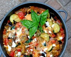 Mediterranean Eggplant, quick, easy & tasty vegetarian supper, just eggplant, zucchini and tomato (fresh or canned) with a little feta stirred in.