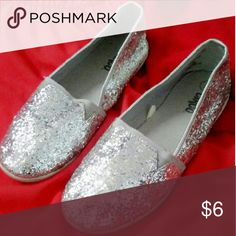 Circo glitter shoes Used but very nice silver glitter slip on flats. Perfect for a casual look with skinny jeans or shorts. Circo Shoes Flats & Loafers