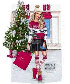 Winter is coming 🎄☃️ Illustration for 💕 Christmas Sketch, Christmas Drawing, Christmas Art, Illustration Noel, Christmas Illustration, Illustrations, Arte Fashion, Girl Fashion, Fashion Design
