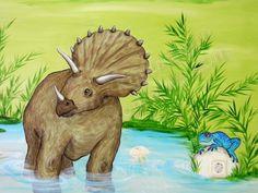 Ζωγραφική σε τοίχο παιδικού δωματίου με το αγαπημένο θέμα του μικρούλη: τους δεινόσαυρους! Ο ηρωικός εξερευνητής – αρχαιολόγος – παλαιοντολόγος, διάλεξε τα προϊστορικά ζώα που του αρέσουν από την ε…