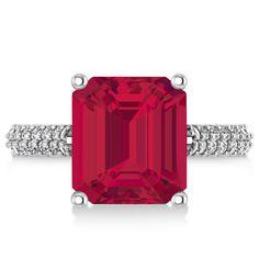 Emerald-Cut Ruby & Diamond Engagement Ring 18k White Gold (4.42ct) - Allurez.com