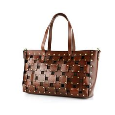 Lixmee women checked leather vintage tote bag (1,555 MXN) ❤ liked on Polyvore featuring bags, handbags, tote bags, hand bags, vintage brown leather purse, brown tote handbags, brown tote purse and vintage leather purse