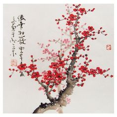 Cherry Blossom paintings Original chinese painting oriental art... ❤ liked on Polyvore